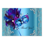 Thank You Quinceanera Party Masquerade Blue Invitations
