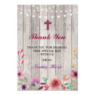 Thank You Religious Holy Cross Floral Baptism Card