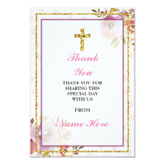 Thank You Religious Holy Cross Floral Gold Cards