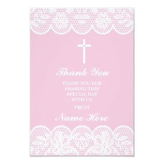 Thank You Religious Lace Cross Floral Holy Cards
