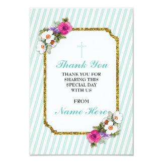 Thank You Religious Mint Stripe Floral Cards
