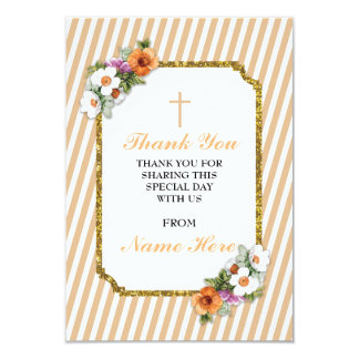 Thank You Religious Peach Stripe Floral Cards