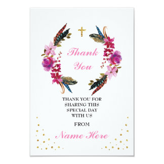Thank You Religious Wreath Cross Floral Gold Cards