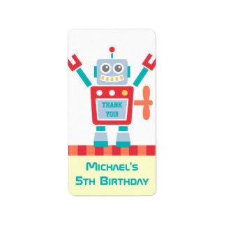 Thank You, Robot Toy, Birthday Party Address Label
