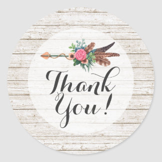 Thank You Rustic Bohemian Feathers Arrow Wedding Classic Round Sticker