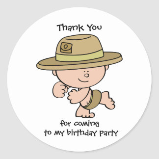 Thank You Safari Explorer Birthday GiftTag Sticker
