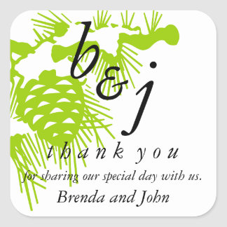 Thank You Saying Wedding Favour Stickers Green