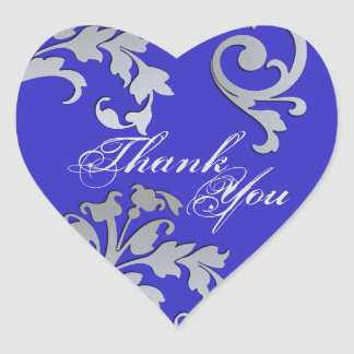 Thank You Seal - Blue & Silver Floral Wedding