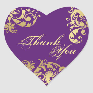 Thank You Seal - Purple & Gold Floral Wedding Heart Sticker