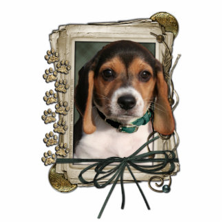 Thank You - Stone Paws - Beagle Puppy Standing Photo Sculpture