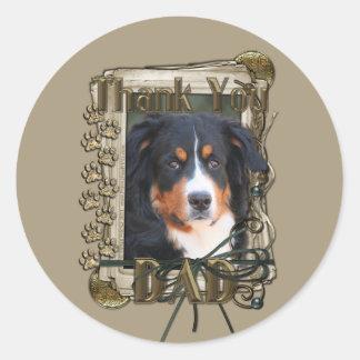 Thank You - Stone Paws - Bernese Mountain Dog- Dad Classic Round Sticker