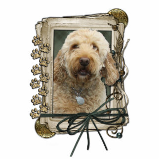 Thank You - Stone Paws - GoldenDoodle Standing Photo Sculpture