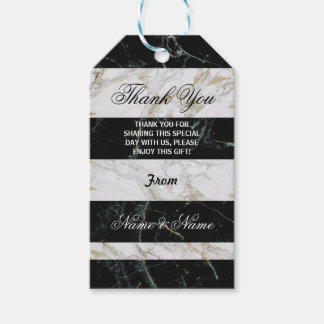 Thank you Tag Black White Marble Art Deco Wedding