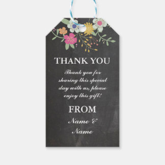 Wedding Gift Tags Nz : Thank you Tag Flowers Favour Tags Chalk Wedding
