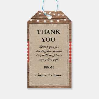 Thank you Tag Rustic Red Favour Tags Wood Wedding