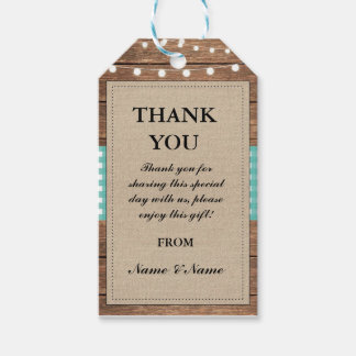Thank you Tag Rustic Teal Favour Tags Wood Wedding
