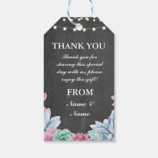 Wedding Gift Tags Nz : Thank you Tag Succulents Favour Tags Chalk Wedding