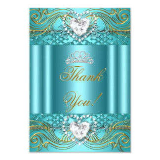 """Thank You Teal Blue Gold Quinceanera 3.5"""" X 5"""" Invitation Card"""