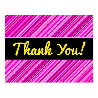 """""""Thank You!"""" + Thin Pink & Magenta Lines Pattern Postcard"""