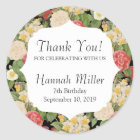 Thank You Vintage Chic Botanical Floral Birthday Classic Round Sticker