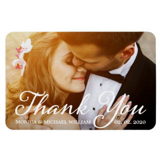 Thank You Wedding Photo Modern Script Magnet