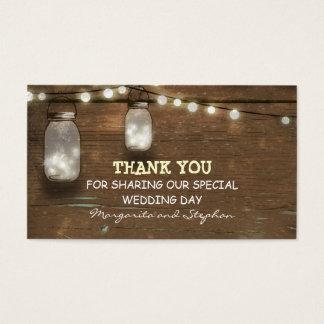 thank you wedding tag with string lights mason jar