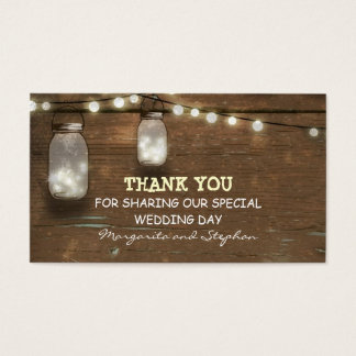 thank you wedding tag with string lights mason jar business card
