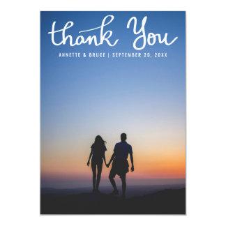 Thank You White Typography Script Wedding Photo 13 Cm X 18 Cm Invitation Card
