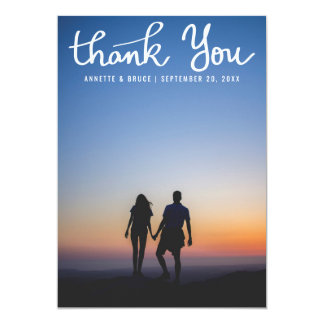Thank You White Typography Script Wedding Photo Card
