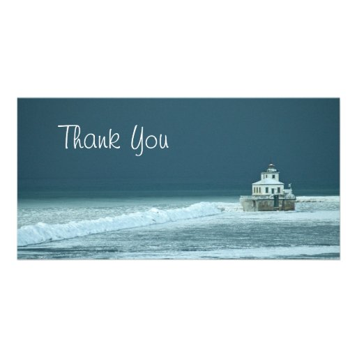 Thank You Winter Lighthouse Personalized Photo Card
