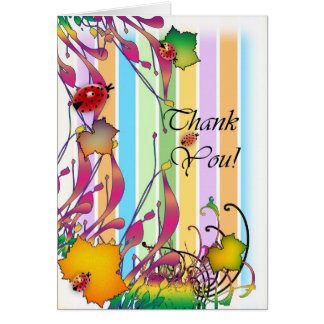 Thank you with flowers and lady bird greeting card