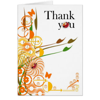 Thank you with vector flowers and lady birds greeting card