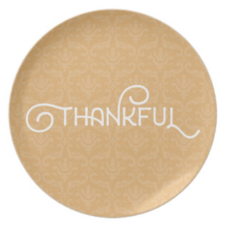Thankful • Cute autumn damask plate