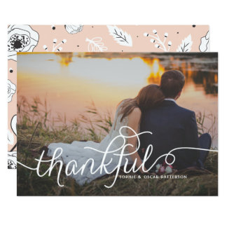Thankful Lovely Script | Wedding Thank You Photo 13 Cm X 18 Cm Invitation Card