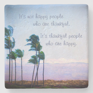 """Thankful People"" Quote Hawaii Palm Trees Photo Stone Coaster"
