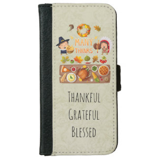 Thankful Pilgrim And Native Thanksgiving Feast iPhone 6 Wallet Case