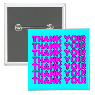 Thanks to Her : Cute Girly Pink Cyan Thank You 15 Cm Square Badge