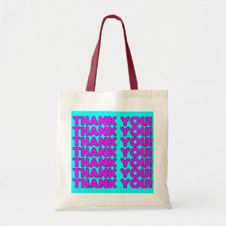 Thanks to Her : Cute Girly Pink Cyan Thank You Budget Tote Bag