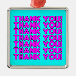 Thanks to Her : Cute Girly Pink Cyan Thank You Silver-Colored Square Decoration