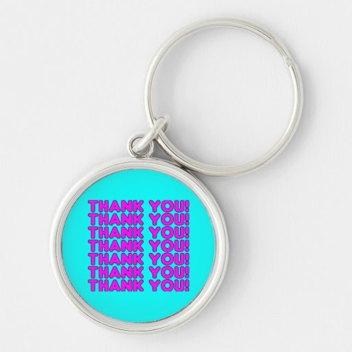 Thanks to Her : Cute Girly Pink Cyan Thank You Keychains