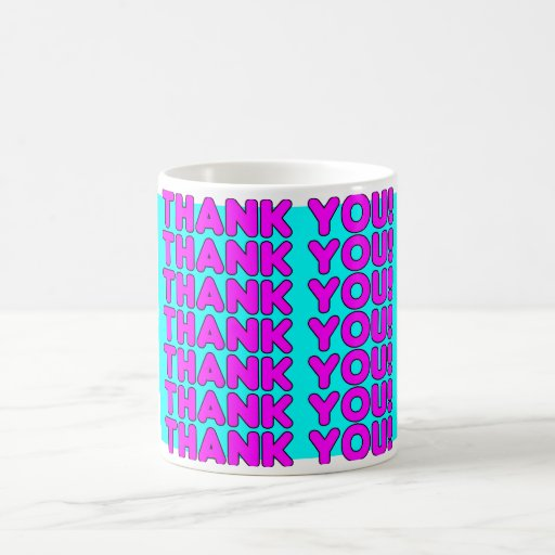 Thanks to Her : Cute Girly Pink Cyan Thank You Mug
