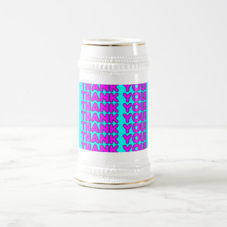 Thanks to Her : Cute Girly Pink Cyan Thank You Beer Steins