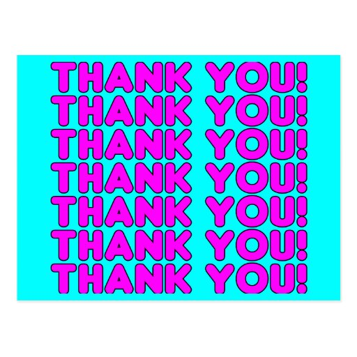Thanks to Her : Cute Girly Pink Cyan Thank You Post Card