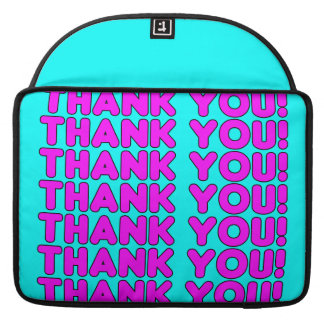 Thanks to Her : Cute Girly Pink Cyan Thank You Sleeves For MacBook Pro