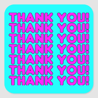 Thanks to Her : Cute Girly Pink Cyan Thank You Square Sticker