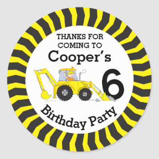 Thanks you kids construction 6th birthday stickers