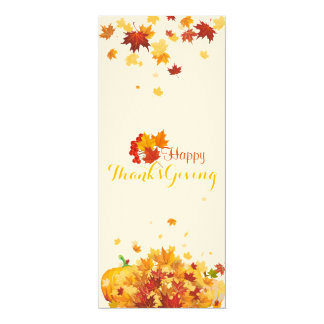 Thanksgiving Autumn Falling Leaves and Pumpkins Card