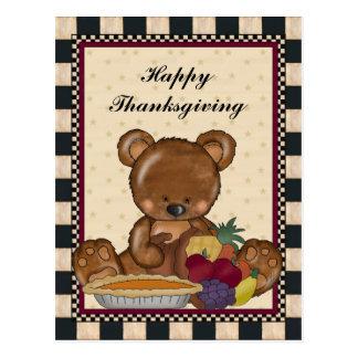 Thanksgiving Bear Holiday Cartoon Postcard