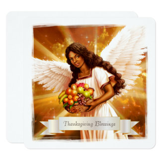 Thanksgiving Blessings. Afro Angel Flat Cards