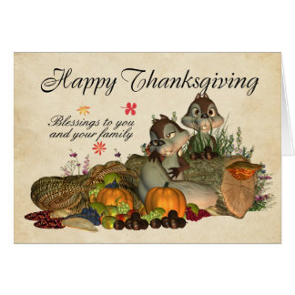 Thanksgiving Blessings - Squirrels And Cornucopia Card